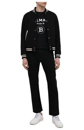 Мужская хлопковая футболка BALMAIN черного цвета, арт. VH0EF000/B029   Фото 2 (Стили: Гранж; Принт: С принтом; Рукава: Короткие; Длина (для топов): Стандартные; Материал внешний: Хлопок)