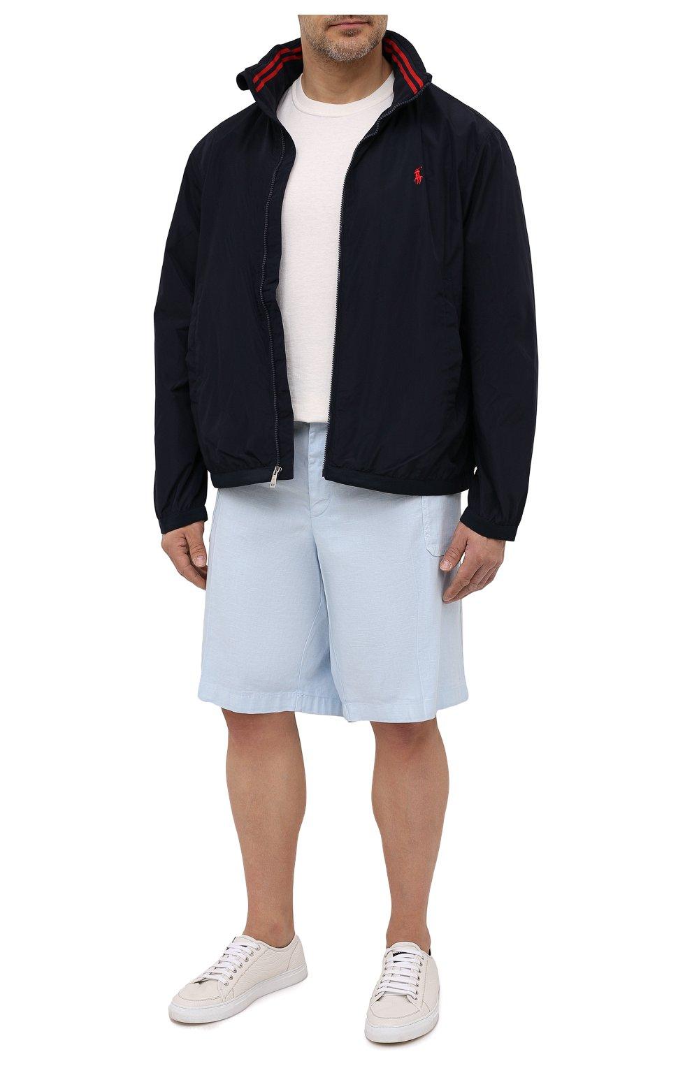 Мужской бомбер POLO RALPH LAUREN темно-синего цвета, арт. 711777217/PRL BS | Фото 2 (Кросс-КТ: Куртка; Big sizes: Big Sizes; Рукава: Длинные; Принт: Без принта; Материал внешний: Синтетический материал; Материал подклада: Синтетический материал; Длина (верхняя одежда): Короткие; Стили: Кэжуэл)