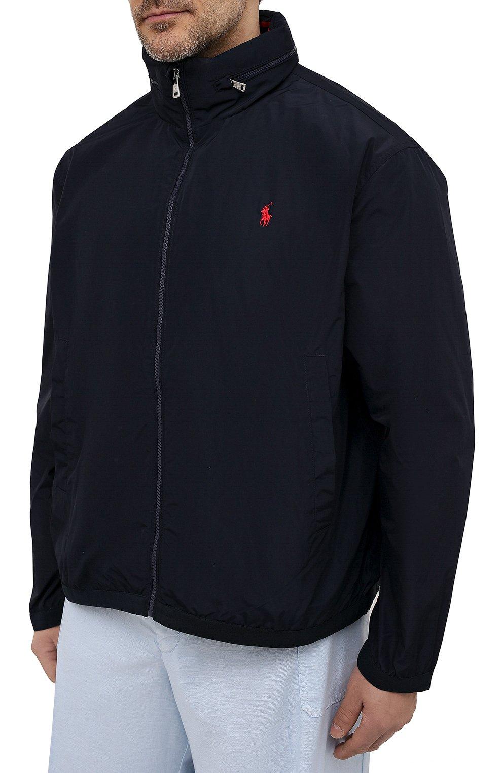Мужской бомбер POLO RALPH LAUREN темно-синего цвета, арт. 711777217/PRL BS | Фото 3 (Кросс-КТ: Куртка; Big sizes: Big Sizes; Рукава: Длинные; Принт: Без принта; Материал внешний: Синтетический материал; Материал подклада: Синтетический материал; Длина (верхняя одежда): Короткие; Стили: Кэжуэл)