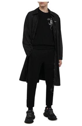 Мужские хлопковые джоггеры RH45 черного цвета, арт. JP09-I | Фото 2 (Мужское Кросс-КТ: Брюки-трикотаж; Длина (брюки, джинсы): Стандартные; Материал внешний: Хлопок; Стили: Спорт-шик; Силуэт М (брюки): Джоггеры)