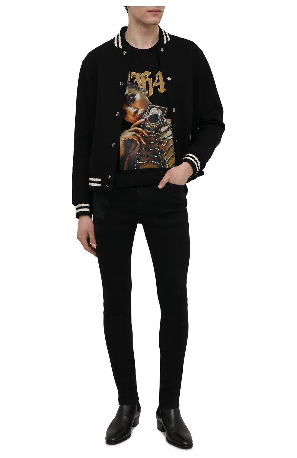 Мужские джинсы RH45 черного цвета, арт. JD07 | Фото 2 (Силуэт М (брюки): Узкие; Кросс-КТ: Деним; Длина (брюки, джинсы): Стандартные; Стили: Гранж; Материал внешний: Хлопок)