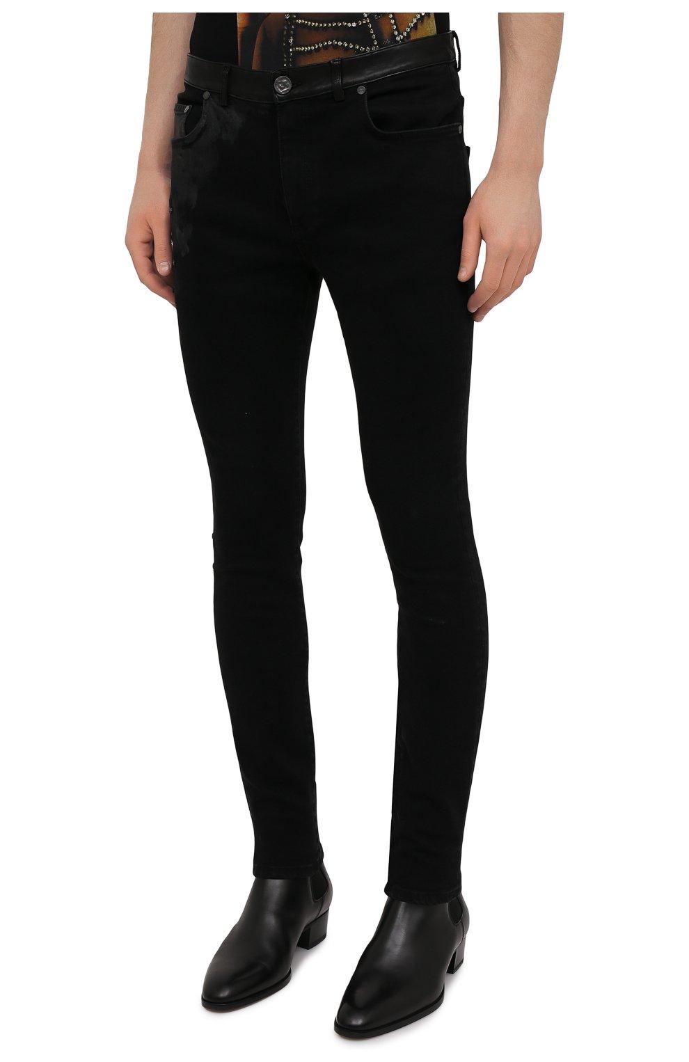 Мужские джинсы RH45 черного цвета, арт. JD07 | Фото 3 (Силуэт М (брюки): Узкие; Кросс-КТ: Деним; Длина (брюки, джинсы): Стандартные; Стили: Гранж; Материал внешний: Хлопок)
