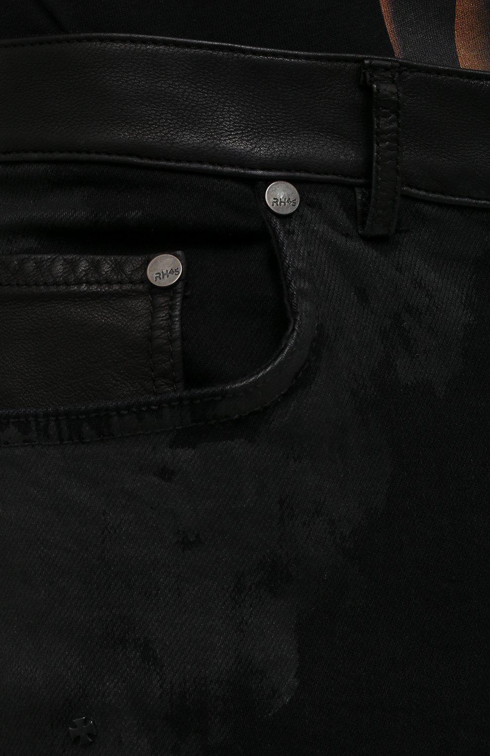 Мужские джинсы RH45 черного цвета, арт. JD07 | Фото 5 (Силуэт М (брюки): Узкие; Кросс-КТ: Деним; Длина (брюки, джинсы): Стандартные; Стили: Гранж; Материал внешний: Хлопок)