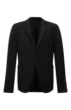Мужской льняной пиджак TRANSIT темно-серого цвета, арт. CFUTRNK201 | Фото 1 (Пиджаки М: Прямой; Материал внешний: Лен; Длина (для топов): Стандартные; Рукава: Длинные; 1-2-бортные: Однобортные; Стили: Кэжуэл; Случай: Повседневный)