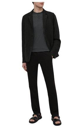 Мужской льняной пиджак TRANSIT темно-серого цвета, арт. CFUTRNK201 | Фото 2 (Пиджаки М: Прямой; Материал внешний: Лен; Длина (для топов): Стандартные; Рукава: Длинные; 1-2-бортные: Однобортные; Стили: Кэжуэл; Случай: Повседневный)