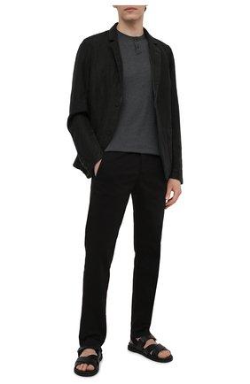 Мужские хлопковые брюки TRANSIT черного цвета, арт. CFUTRNA100 | Фото 2