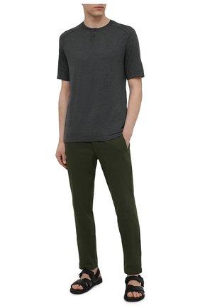 Мужские хлопковые брюки TRANSIT хаки цвета, арт. CFUTRNA100 | Фото 2