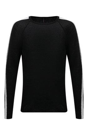 Мужской льняной джемпер TRANSIT черного цвета, арт. CFUTRN15500 | Фото 1