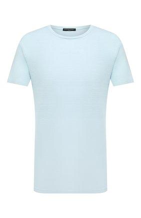Мужская льняная футболка DANIELE FIESOLI голубого цвета, арт. DF 7110 | Фото 1