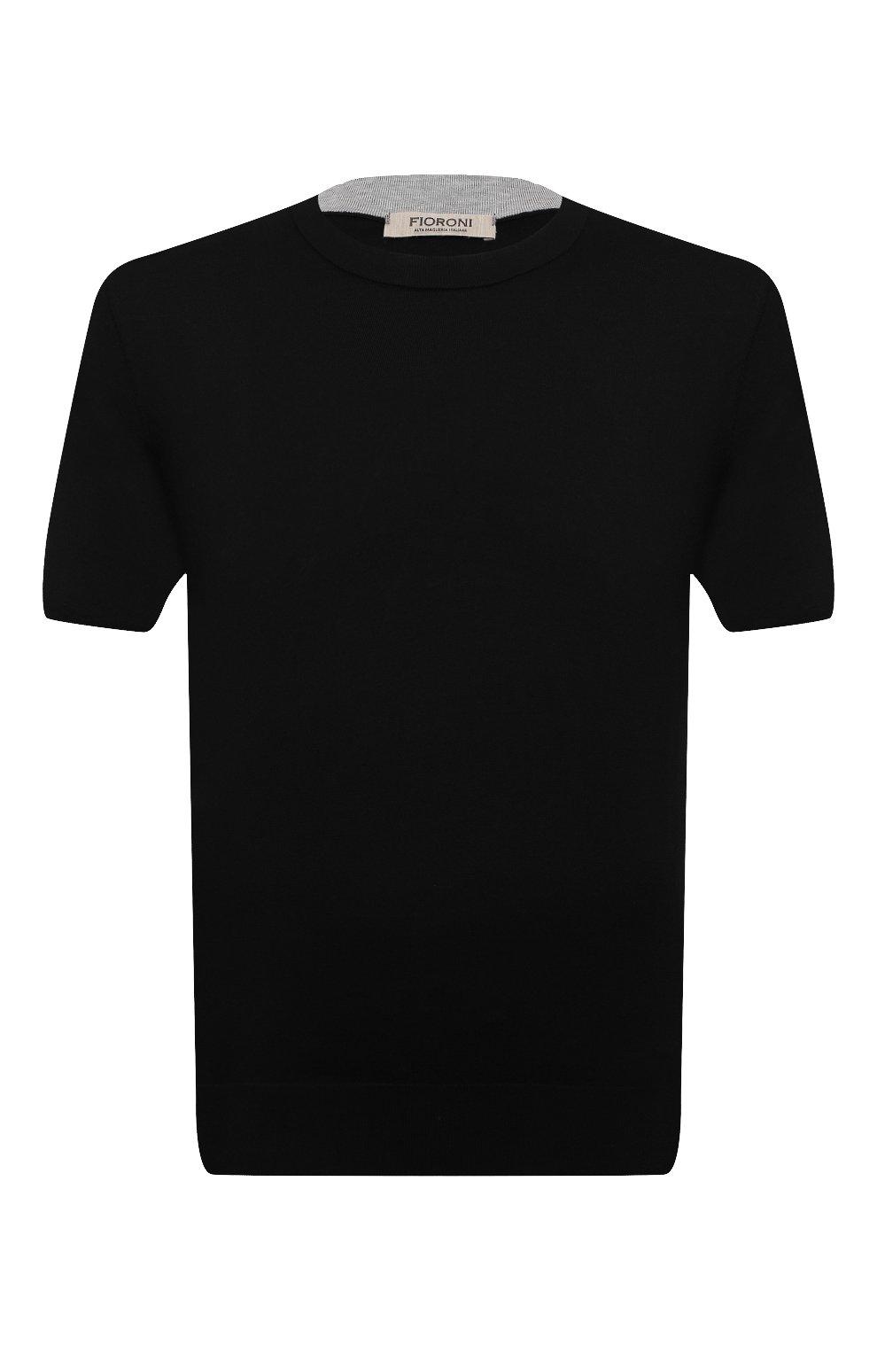 Мужской хлопковый джемпер FIORONI черного цвета, арт. MK20260A2 | Фото 1 (Мужское Кросс-КТ: Джемперы; Принт: Без принта; Рукава: Короткие; Длина (для топов): Стандартные; Материал внешний: Хлопок; Вырез: Круглый)
