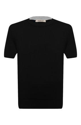 Мужской хлопковый джемпер FIORONI черного цвета, арт. MK20260A2 | Фото 1 (Принт: Без принта; Вырез: Круглый; Длина (для топов): Стандартные; Материал внешний: Хлопок; Рукава: Короткие; Мужское Кросс-КТ: Джемперы)