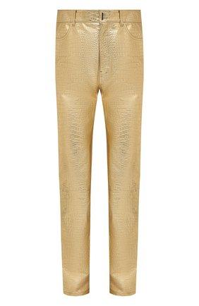 Мужские кожаные брюки GIVENCHY золотого цвета, арт. BM50TW610C | Фото 1