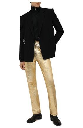 Мужские кожаные брюки GIVENCHY золотого цвета, арт. BM50TW610C | Фото 2