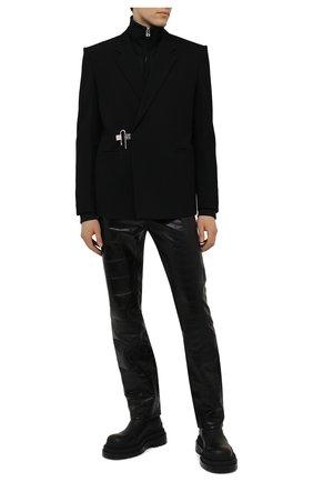 Мужские кожаные брюки GIVENCHY черного цвета, арт. BM50TW6115 | Фото 2
