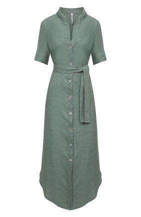 Женское льняное платье LA FABBRICA DEL LINO хаки цвета, арт. 10506 | Фото 1