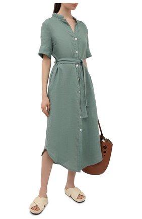 Женское льняное платье LA FABBRICA DEL LINO хаки цвета, арт. 10506 | Фото 2