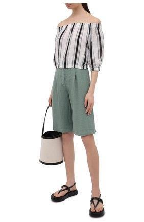 Женские льняные шорты LA FABBRICA DEL LINO хаки цвета, арт. 10103 | Фото 2