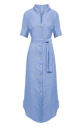 Женское льняное платье LA FABBRICA DEL LINO голубого цвета, арт. 10506 | Фото 1