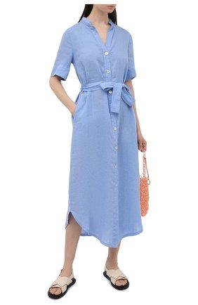 Женское льняное платье LA FABBRICA DEL LINO голубого цвета, арт. 10506 | Фото 2