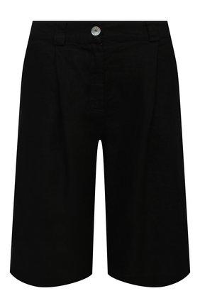 Женские льняные шорты LA FABBRICA DEL LINO черного цвета, арт. 10103 | Фото 1