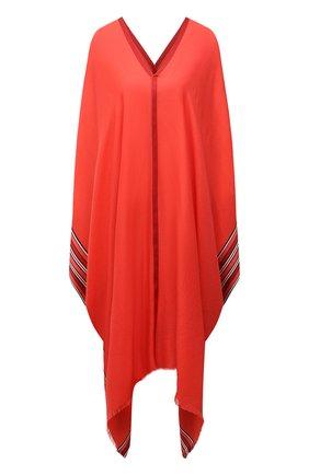 Женская пончо из смеси шелка и кашемира LORO PIANA кораллового цвета, арт. FAI5673 | Фото 1 (Материал внешний: Кашемир, Шерсть, Шелк; Стили: Этно; Длина (верхняя одежда): Длинные)