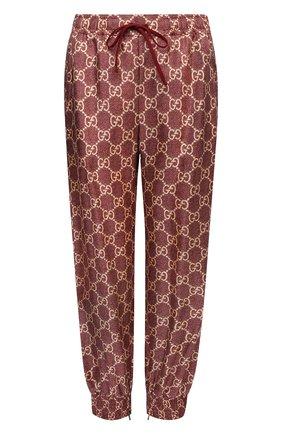 Женские шелковые джоггеры GUCCI бордового цвета, арт. 625005/XJCL5 | Фото 1