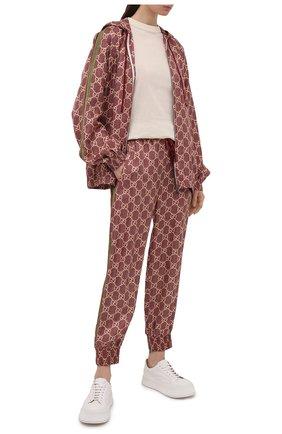 Женские шелковые джоггеры GUCCI бордового цвета, арт. 625005/XJCL5 | Фото 2