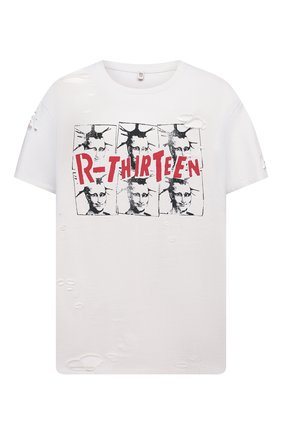 Женская хлопковая футболка R13 белого цвета, арт. R13W9370-43   Фото 1