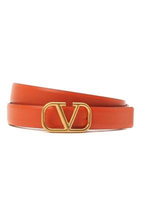 Женский кожаный ремень  VALENTINO оранжевого цвета, арт. VW0T0S12/ZFR | Фото 1 (Материал: Кожа)