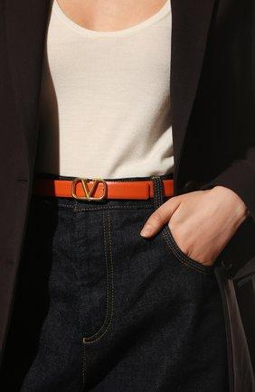 Женский кожаный ремень  VALENTINO оранжевого цвета, арт. VW0T0S12/ZFR | Фото 2 (Материал: Кожа)