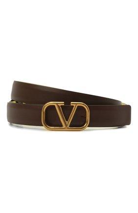 Женский кожаный ремень  VALENTINO коричневого цвета, арт. VW0T0S12/ZFR | Фото 1 (Материал: Кожа)