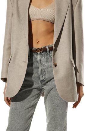 Женский кожаный ремень  VALENTINO коричневого цвета, арт. VW0T0S12/ZFR | Фото 2 (Материал: Кожа)