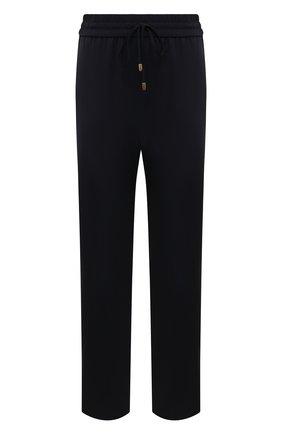 Женские укороченные шерстяные брюки с эластичным поясом ESCADA SPORT темно-синего цвета, арт. 5025772 | Фото 1