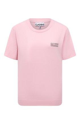 Женская футболка GANNI розового цвета, арт. T2775 | Фото 1 (Стили: Кэжуэл; Материал внешний: Синтетический материал, Хлопок; Рукава: Короткие; Длина (для топов): Стандартные; Женское Кросс-КТ: Футболка-одежда; Принт: С принтом)