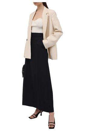 Женская шерстяная юбка VICTORIA BECKHAM темно-синего цвета, арт. 1221WSK002726A   Фото 2