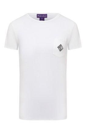 Женская хлопковая футболка RALPH LAUREN белого цвета, арт. 290840784 | Фото 1 (Длина (для топов): Стандартные; Материал внешний: Хлопок; Рукава: Короткие; Принт: С принтом; Стили: Кэжуэл; Женское Кросс-КТ: Футболка-одежда)
