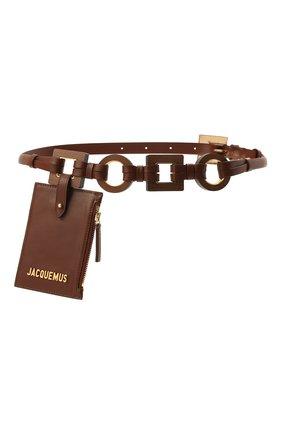 Женский кожаный ремень JACQUEMUS коричневого цвета, арт. 211AC17/300800   Фото 1