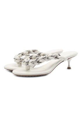 Женские кожаные мюли dot BOTTEGA VENETA белого цвета, арт. 659002/V0V50 | Фото 1