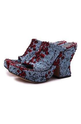 Женские текстильные мюли wedge BOTTEGA VENETA синего цвета, арт. 658975/V0VV0 | Фото 1