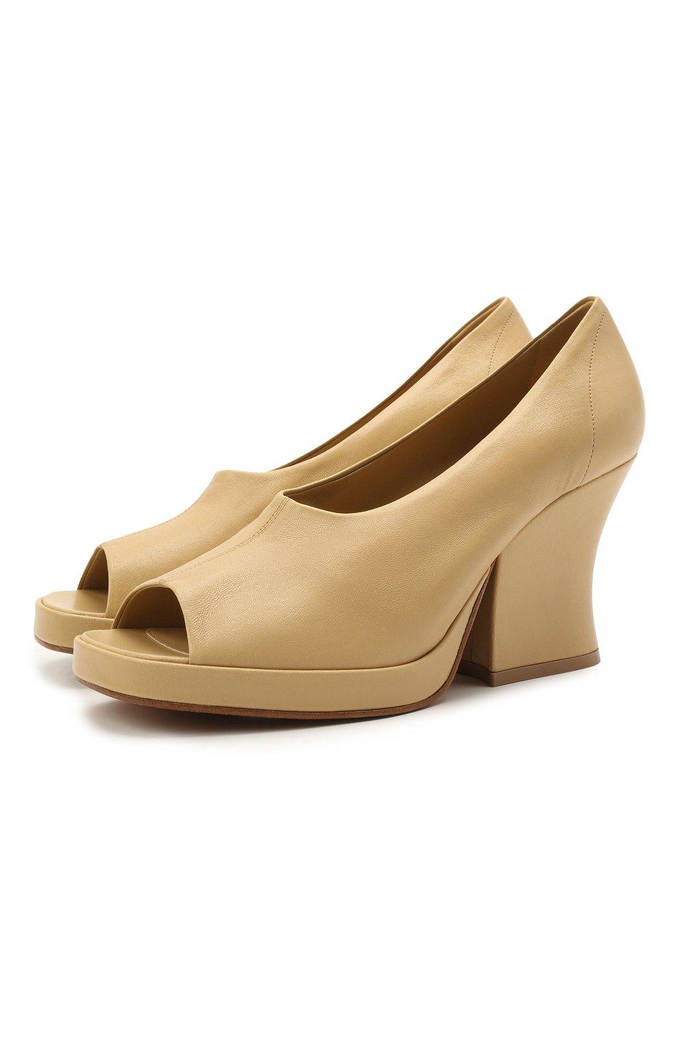Женские кожаные туфли stack BOTTEGA VENETA бежевого цвета, арт. 658959/VBP40   Фото 1 (Подошва: Платформа; Каблук высота: Высокий; Материал внутренний: Натуральная кожа; Каблук тип: Устойчивый)