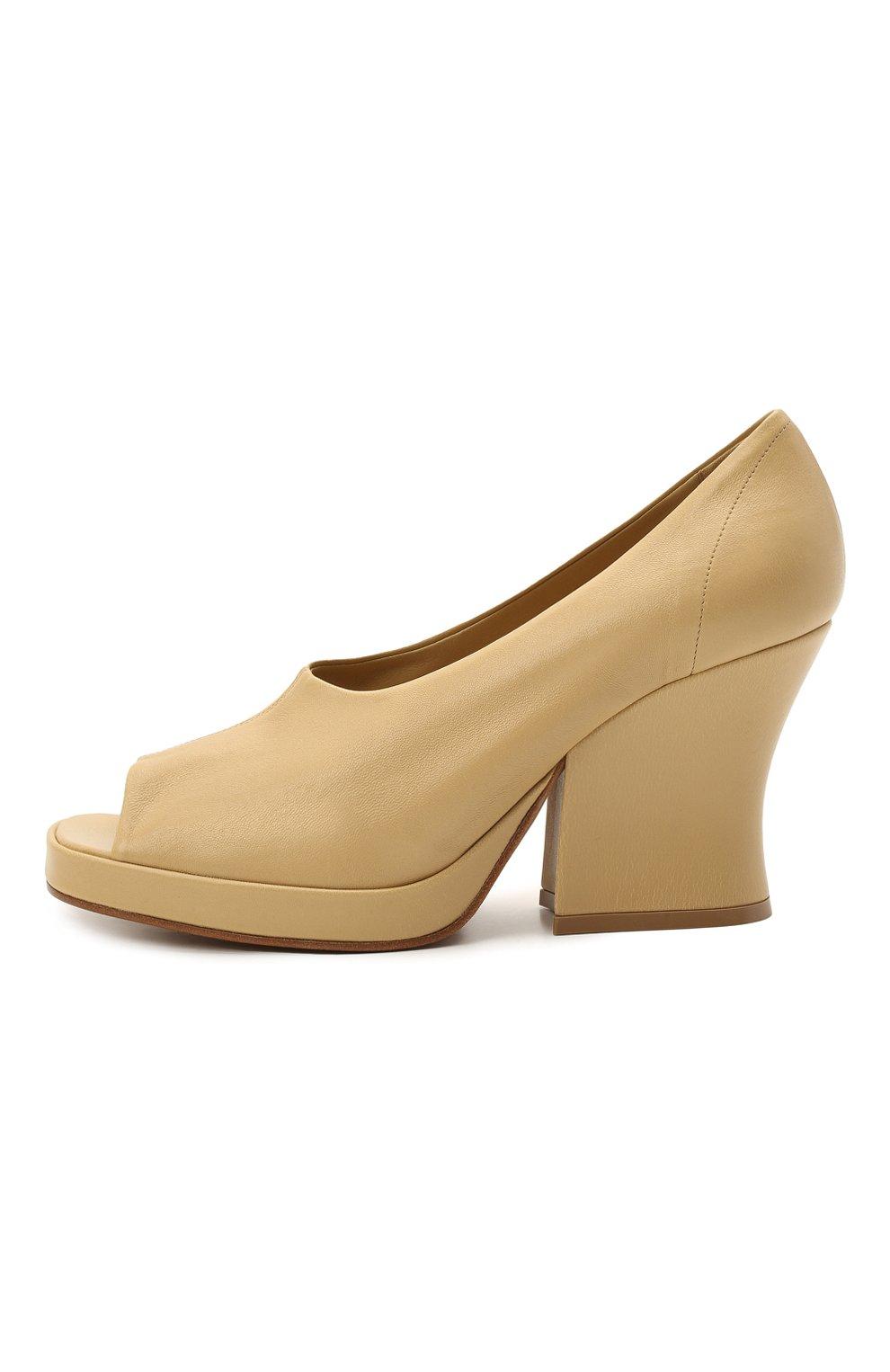 Женские кожаные туфли stack BOTTEGA VENETA бежевого цвета, арт. 658959/VBP40   Фото 3 (Подошва: Платформа; Каблук высота: Высокий; Материал внутренний: Натуральная кожа; Каблук тип: Устойчивый)