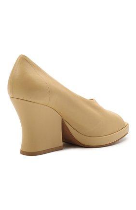 Женские кожаные туфли stack BOTTEGA VENETA бежевого цвета, арт. 658959/VBP40   Фото 4 (Подошва: Платформа; Каблук высота: Высокий; Материал внутренний: Натуральная кожа; Каблук тип: Устойчивый)