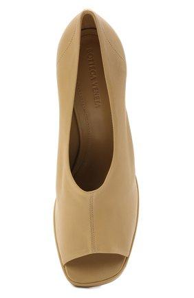 Женские кожаные туфли stack BOTTEGA VENETA бежевого цвета, арт. 658959/VBP40   Фото 5 (Подошва: Платформа; Каблук высота: Высокий; Материал внутренний: Натуральная кожа; Каблук тип: Устойчивый)
