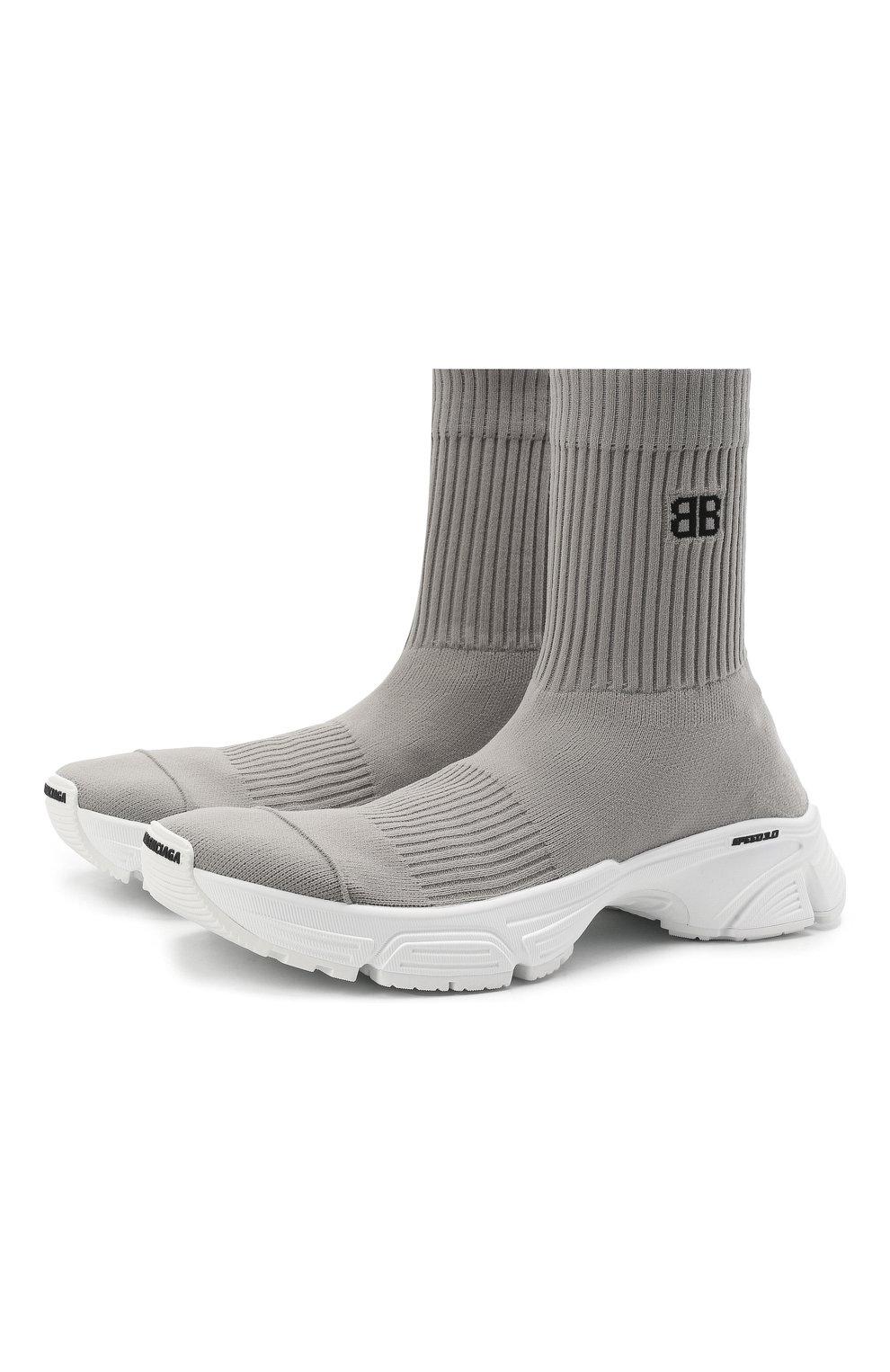 Мужские текстильные кроссовки speed 3.0 BALENCIAGA серого цвета, арт. 654532/W2DN2   Фото 1 (Материал внешний: Текстиль; Стили: Гранж; Материал внутренний: Текстиль; Подошва: Массивная)