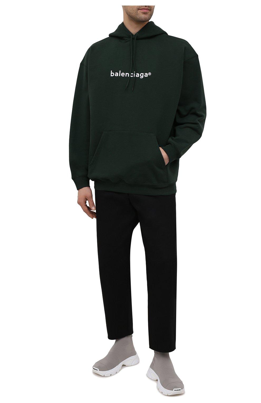 Мужские текстильные кроссовки speed 3.0 BALENCIAGA серого цвета, арт. 654532/W2DN2   Фото 2 (Материал внешний: Текстиль; Стили: Гранж; Материал внутренний: Текстиль; Подошва: Массивная)