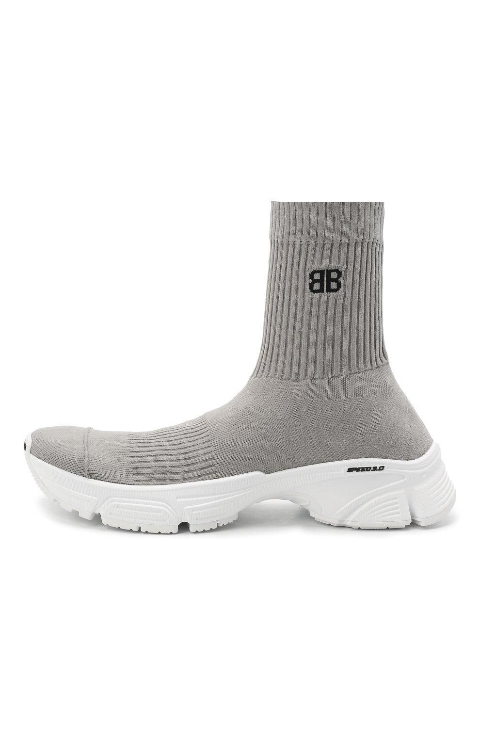 Мужские текстильные кроссовки speed 3.0 BALENCIAGA серого цвета, арт. 654532/W2DN2   Фото 3 (Материал внешний: Текстиль; Стили: Гранж; Материал внутренний: Текстиль; Подошва: Массивная)