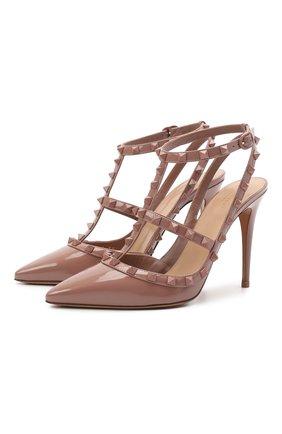 Женские кожаные туфли rockstud VALENTINO темно-бежевого цвета, арт. VW0S0393/YPX | Фото 1 (Каблук высота: Высокий; Подошва: Плоская; Каблук тип: Шпилька; Материал внутренний: Натуральная кожа)