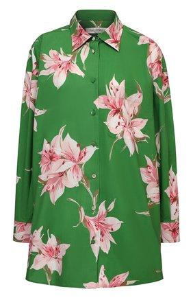 Женская хлопковая рубашка VALENTINO зеленого цвета, арт. VB0AB2606DC | Фото 1