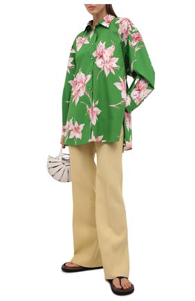 Женская хлопковая рубашка VALENTINO зеленого цвета, арт. VB0AB2606DC | Фото 2
