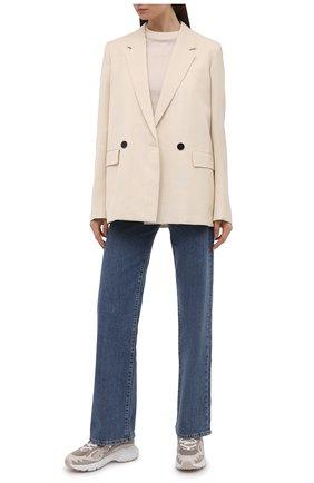 Женские кожаные кроссовки TOD'S светло-серого цвета, арт. XXW54C0DP50PX0 | Фото 2